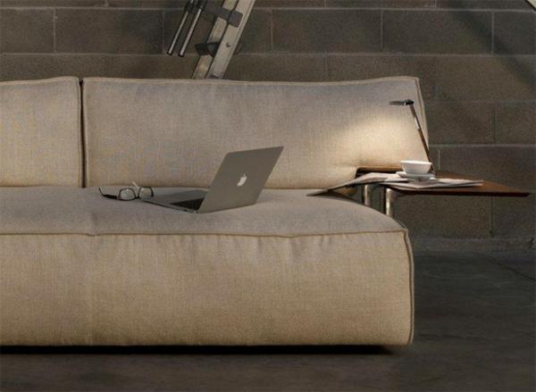 home office möbel bezug aus leinen beistelltisch