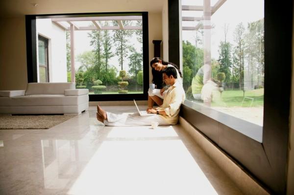 intelligente fenster designs minimalistisch panoramafenster