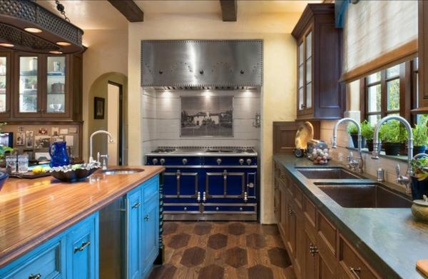 schickes küchen design antik schränke in meeresblau retro herd