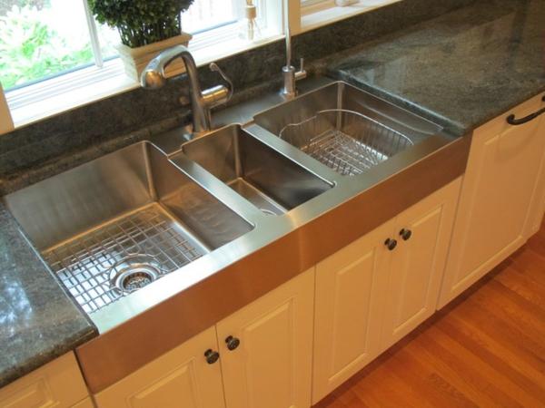 schickes küchen design doppeltes spülbecken aus stahl