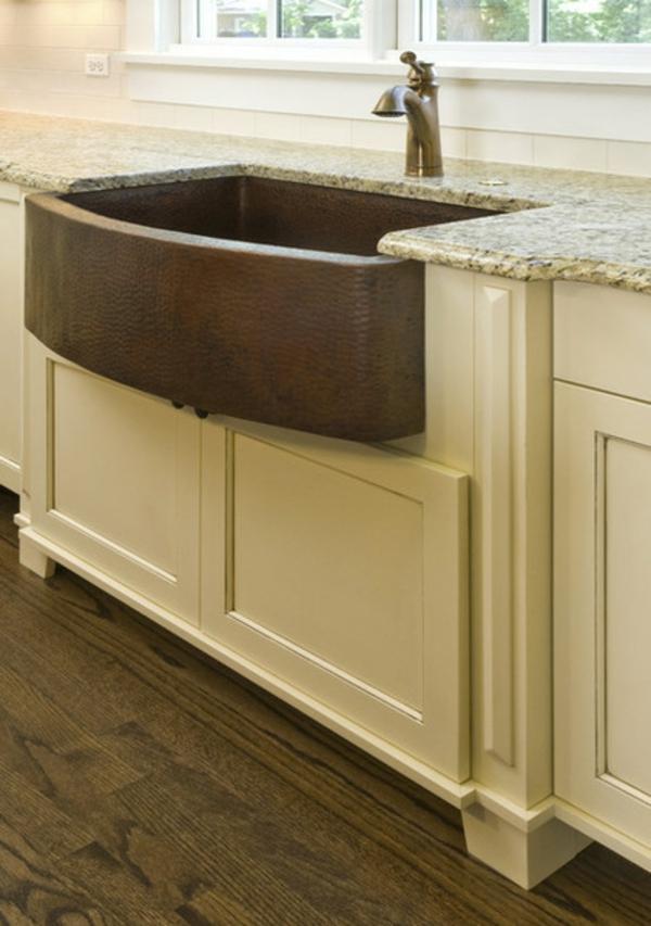 schickes küchen design kupfer spüle marmoroberfläche
