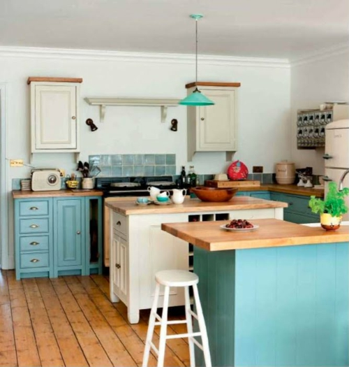 kompakte Küchen Designs kreativ idee design blau oberflächen