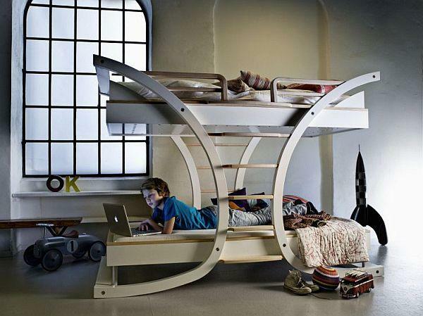 kinderbetten designs zwei etagen aus hellem holz