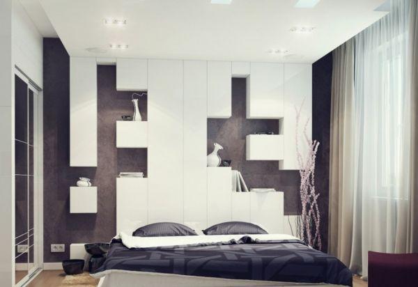 kleine schlafzimmer geometrische formen und einbauleuchten