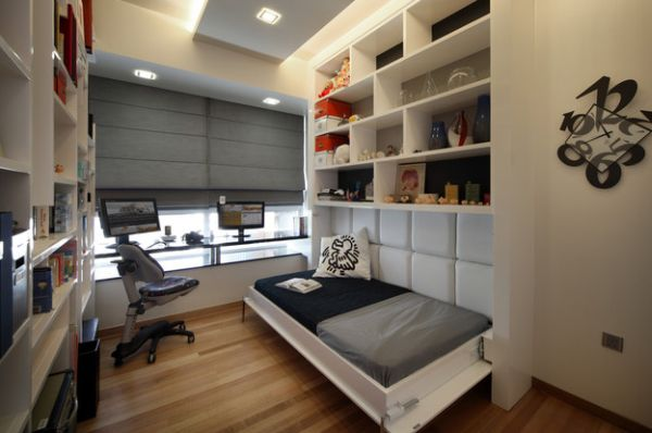 kleine schlafzimmer kreativ gestalten eigebaute offene regale moderner arbeitsplatz