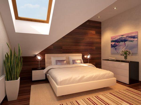 kleine schlafzimmer kreativ gestalten wandtäfelung in holzoptik