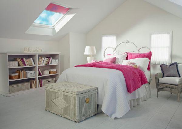 kleine schlafzimmer kreativ gestalten weiße rattan truhe pinke akzente