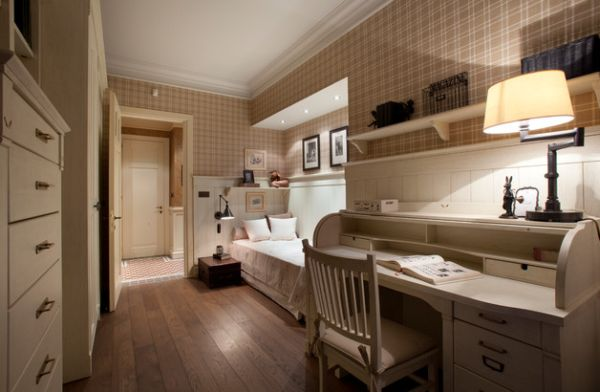 kleine schlafzimmer retro flair in beige und gedämpftes licht