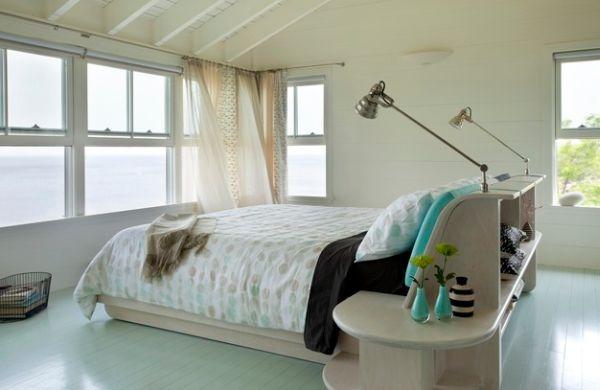 kleine schlafzimmer sanfte gardinen ausgefallene leselampen