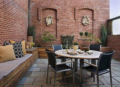 kleine urbane Garten Designs bodenbelag ziegelwand fliesen