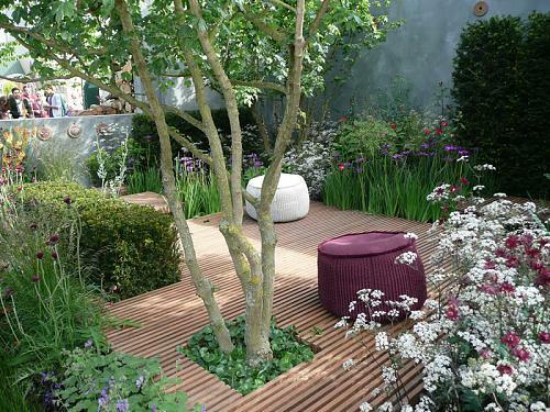 kleine urbane Garten Designs fußboden holz hocker baum