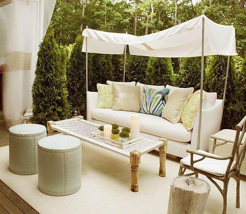 kleine urbane Garten Designs fußboden liege weiß möbel hocker