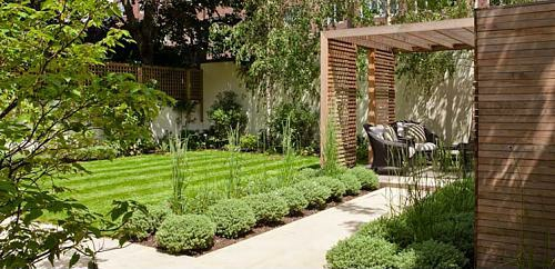 kleine urbane Garten Designs holz bodenbelag baum überdachung