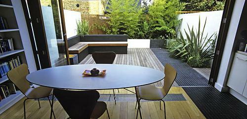kleine urbane Garten Designs holz stuhl tisch oval