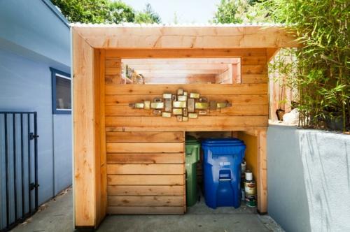 kompakte Baracke mit Lagerraum holz platten baustruktur
