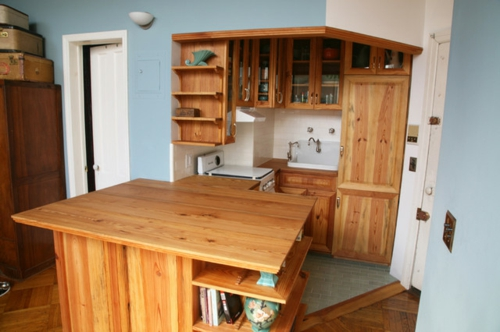 kompakte Küchen Designs modern spüle holz mobiliar regale wand