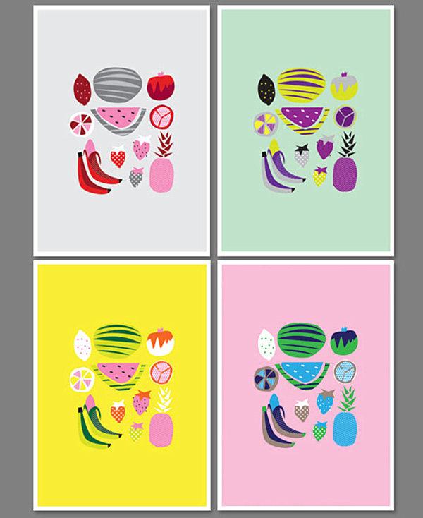 leckere deko ideen küchen poster in grellen farben
