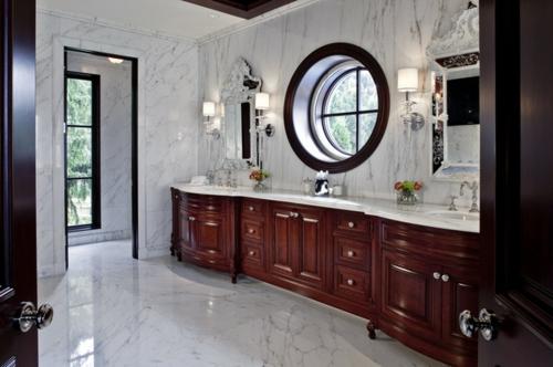 marmor im haus verwenden mit edlen kirschholz schränke