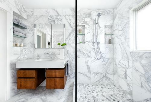 marmor im haus verwenden teakholz unterschränke geräumige duschkabine