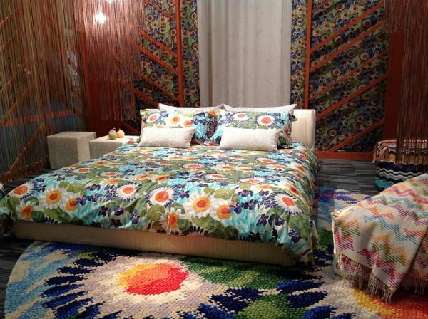 missoni home collection runder gestrickter teppich mit blumen