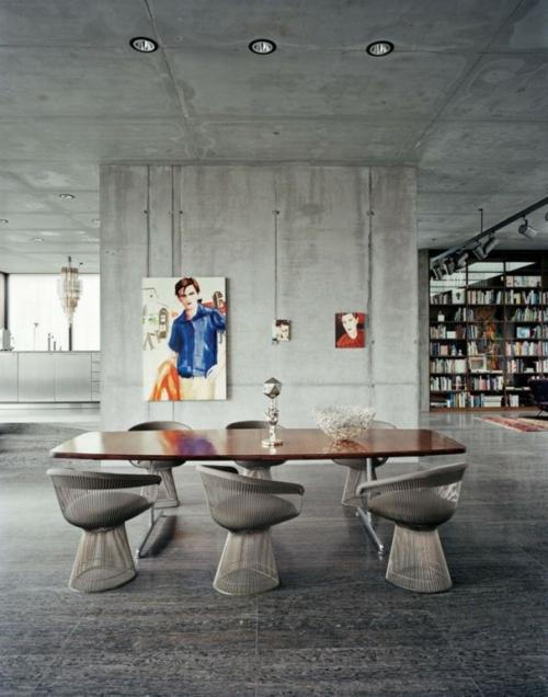 modern industriell wohnzimmer graue nuancen rau wandgestaltung