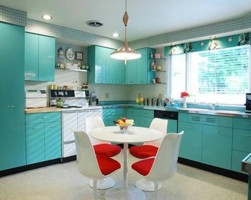 kreative Küchen Designs blau oberflächen essecke weiß möbel