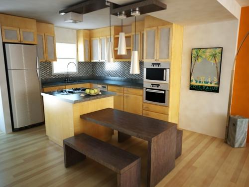 kompakte Küchen Designs holz schlicht tisch sitzbank