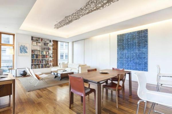 moderne Wohnung in SoHo wohnzimmer essbereich holz möbel