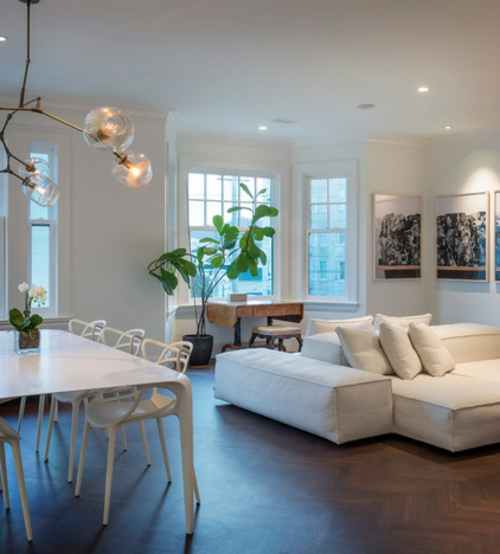 moderne leuchten zweigenartig weiße sitzmöbel