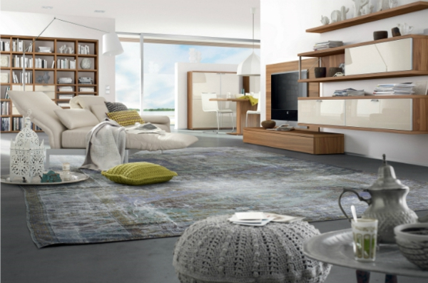 moderne wohnzimmer einrichtung  gestrickte hocker und kissen bezüge