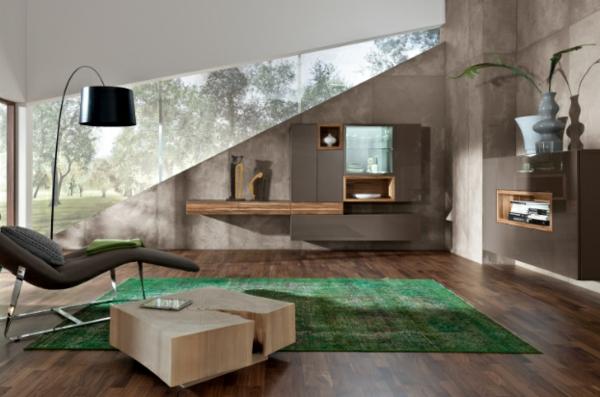 moderne wohnzimmer einrichtung grasgrüner teppich beistelltisch aus baumstamm