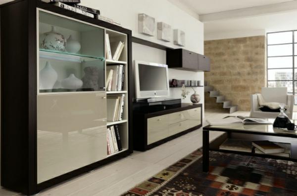 moderne wohnzimmer einrichtung naturstein wand laminat fußboden