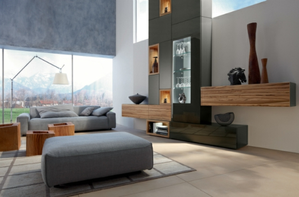 Moderne Wohnzimmer Einrichtung Offenes Regal Viele Kunstwerke