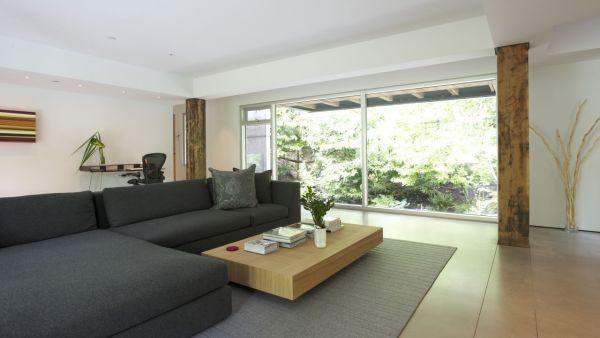 modernes haus im grünen graue couch