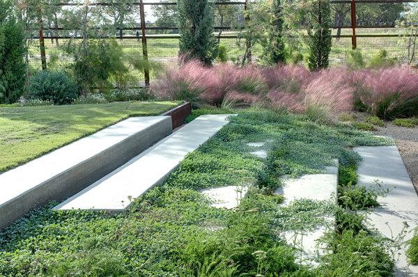 modernes landschaftsbau design große flache stufen