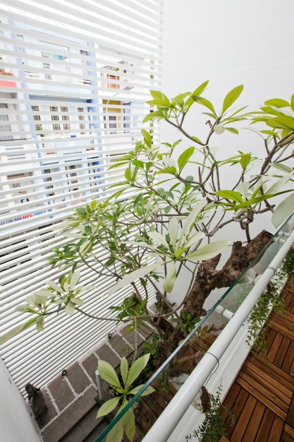 nachhaltiges haus design holzlamellen innengarten