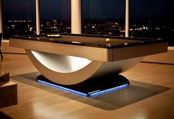 billardtische futuristisches design mit eingebauten leuchten
