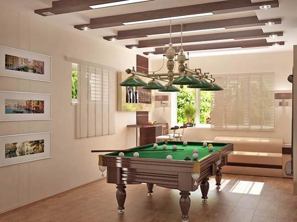 pool billardtische traditionelles design nussbaumholz und grasgrüne hängelampen