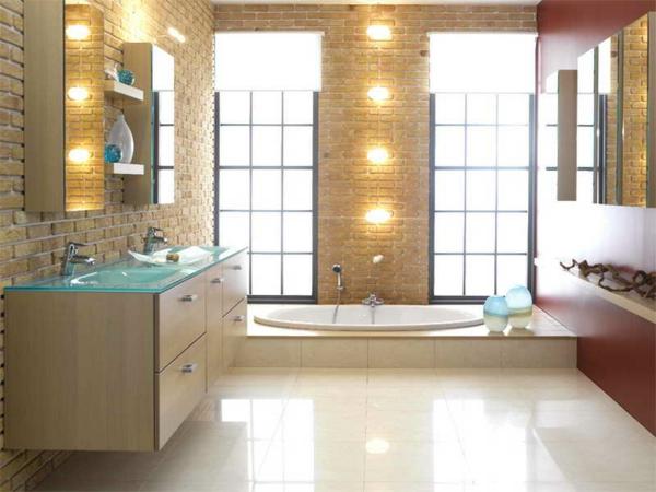 Einrichtungsideen fürs Badezimmer badewanne ziegelwand