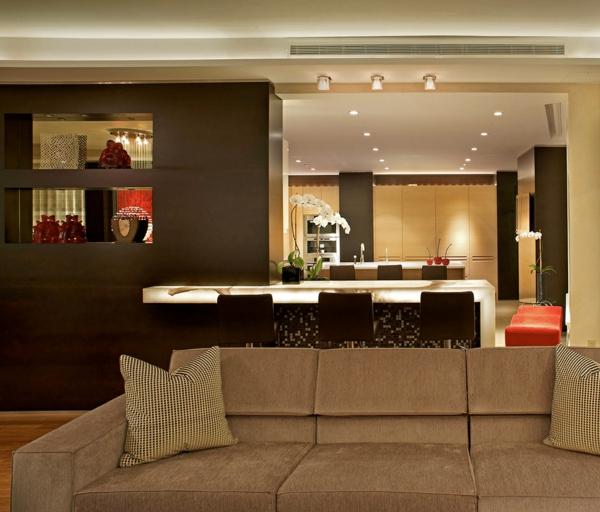 raffinierte penthouse wohnung leuchtende bartheke