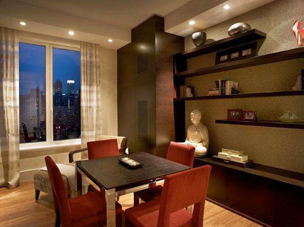 raffinierte penthouse wohnung zen statuette einbauleuchten