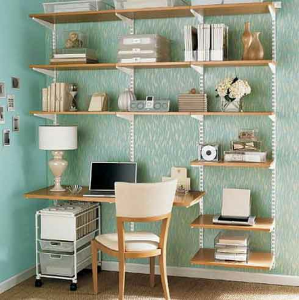 Bücherregal wand ikea  Regale und Schreibtisch richtig kombinieren und mehr Platz gewinnen