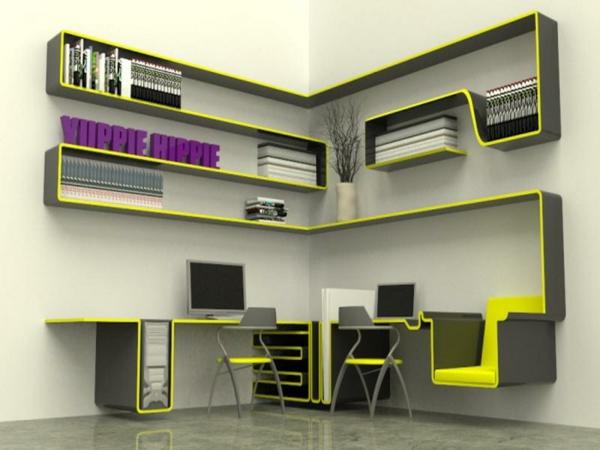 regale und schreibtisch richtig kombinieren und mehr platz gewinnen. Black Bedroom Furniture Sets. Home Design Ideas