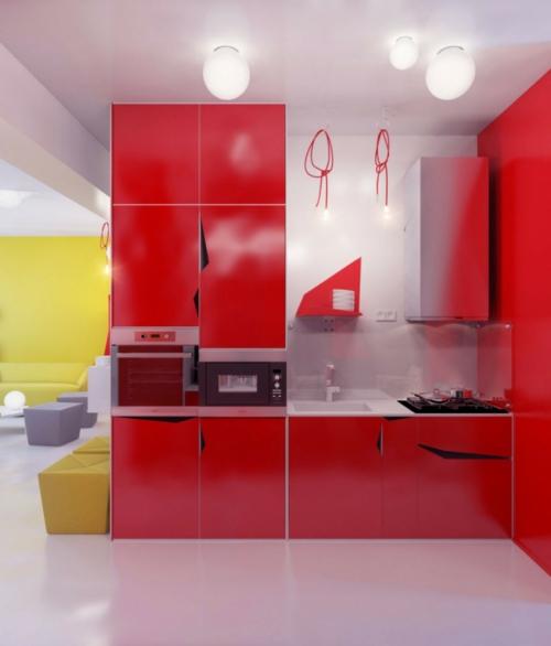 rote-Farbe-in-der-Küche-nuancen-eingebaut-küchenschränke-geräte