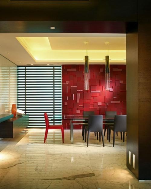 rote Farbe in der Küche nuancen essbereich tischplatte fensterladen