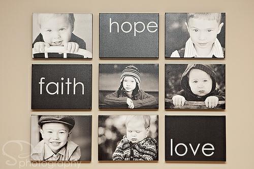 schöne Ausstellung mit Familienfotos hoffnung glaube liebe