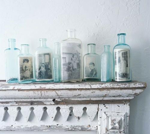 schöne Ausstellung mit Familienfotos kaminsims glas