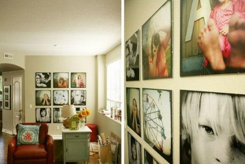 Ausstellung mit Familienfotos sessel leder nachtisch