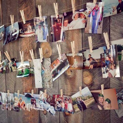 Ausstellung mit Familienfotos wäscheklammer