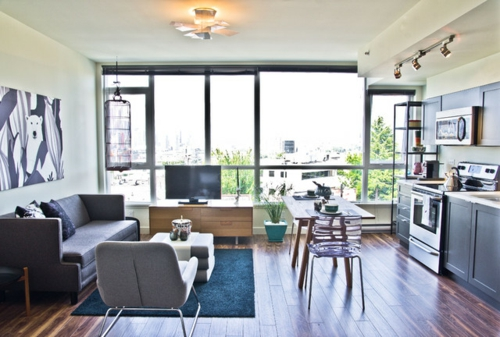 schönes Wohnen im Loft oder Studio wohnzimmer esszimmer